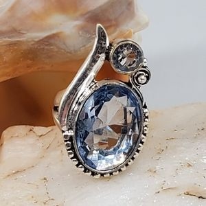 Silver Ring Large Natural Oval Topaz Stone